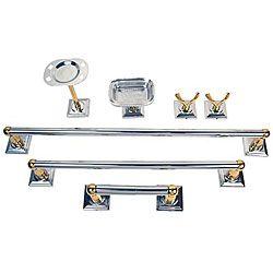 moen monaco chrome polished brass 7 piece bath accessory kit - Bathroom Accessories Kit