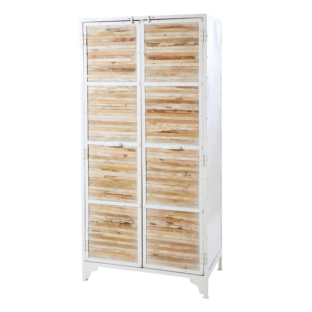 Schrank Aus Weissem Metall Und Recyceltem Holz With Images