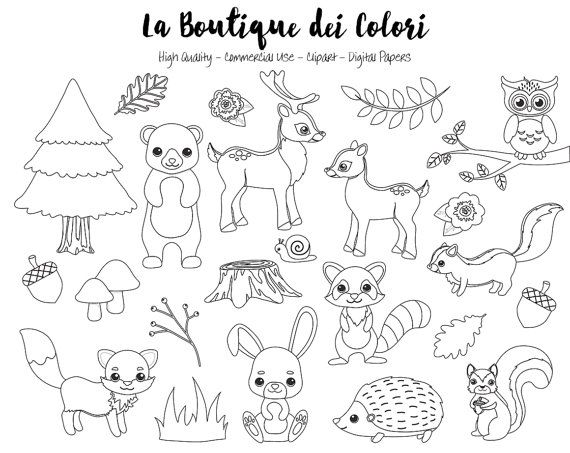 Woodland Animals Digital Stamps Clipart Cute Graphics PNG Fox Bear Squirrel Forest Party Clip Art Commercial Use Ideal For Planner