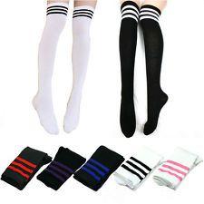 Sexy Mujeres Niñas Moda Algodón Calcetinas sobre la rodilla alto del muslo calcetines largos