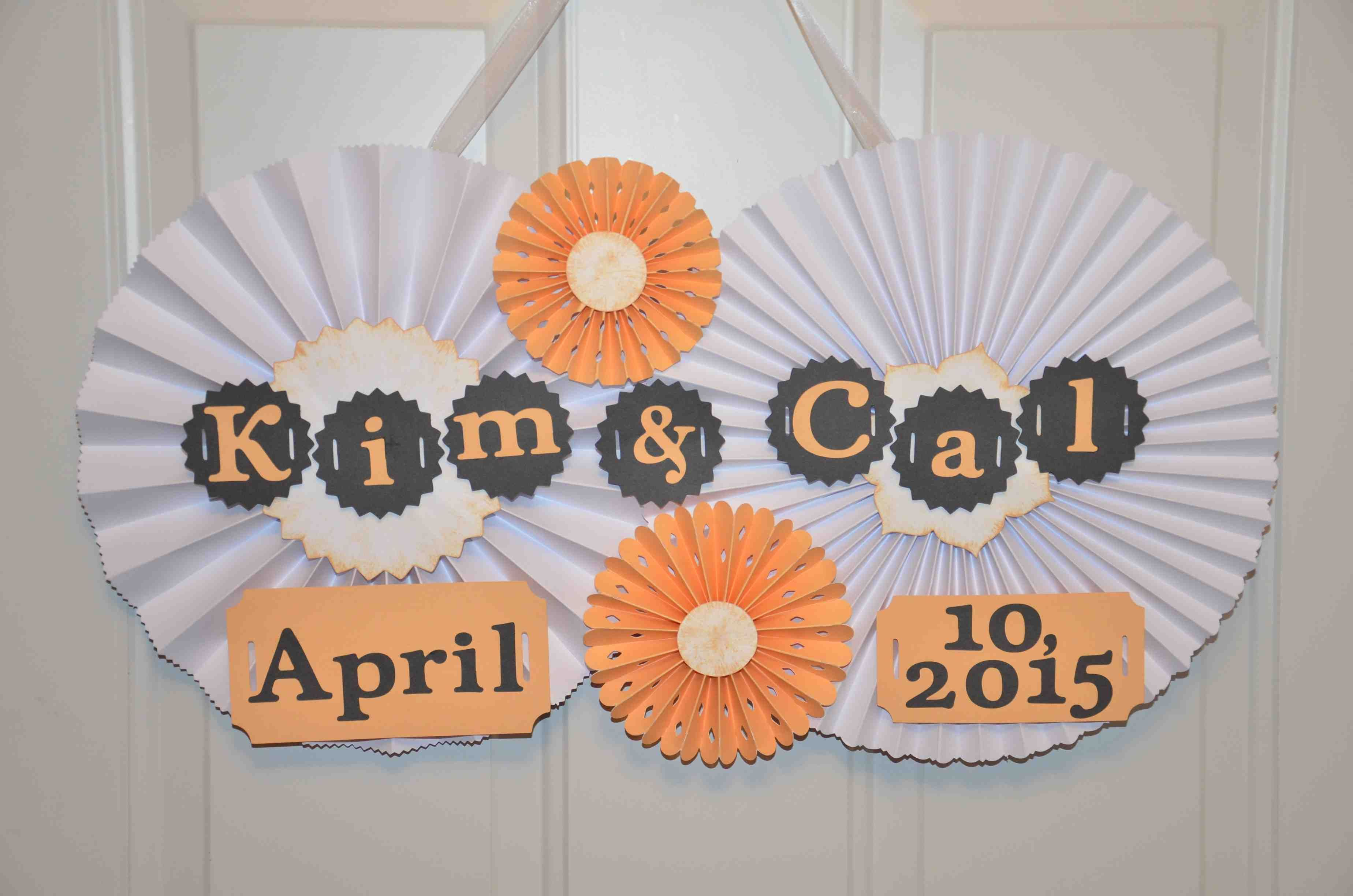 Paper rosette wedding hanging door sign available at https://www.facebook.com/ajs.craft.creations