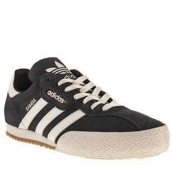Adidas navy & white samba super suede trainers | Adidas ...
