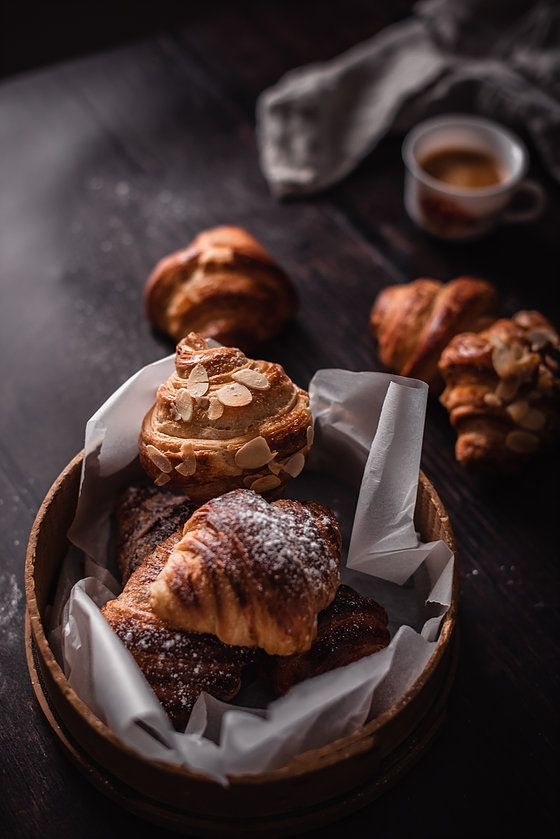homemade croissants with toasted almonds