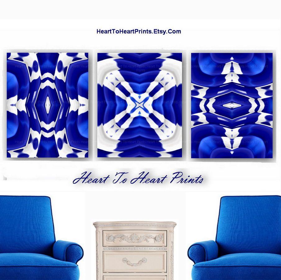 Cobalt Blue Wall Art Decor Home Living Room Bedroom Bathroom