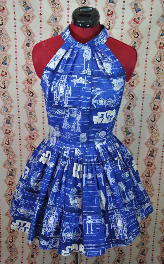 Vintage Style Blue Star Wars Blue Print Dress | Star wars dress ...