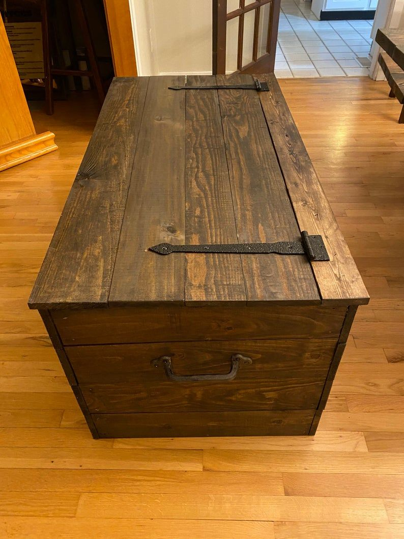 Farmhouse wooden chest rustic stained trunk in 2020 with