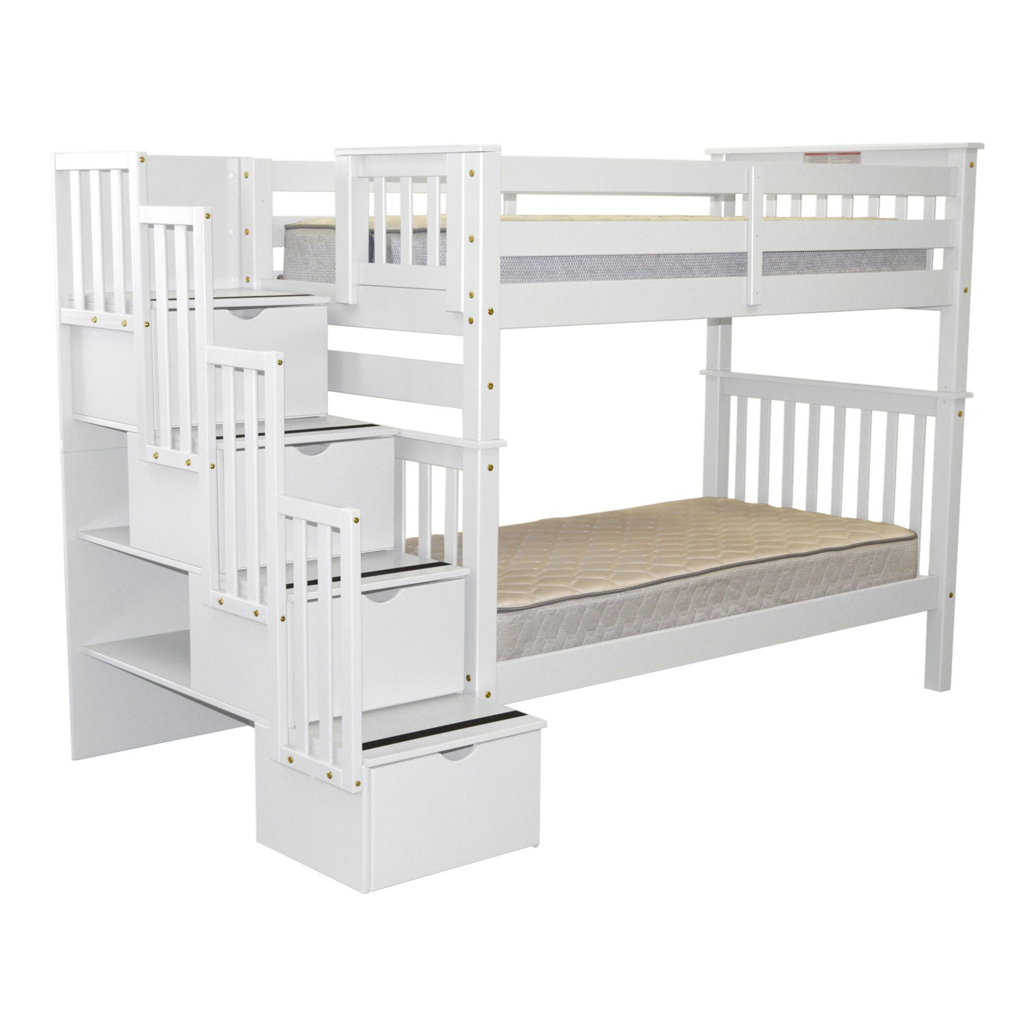 Bedz King Tall Stairway Bunk Bed Twin Over Twin With 4 Drawers In The Steps,