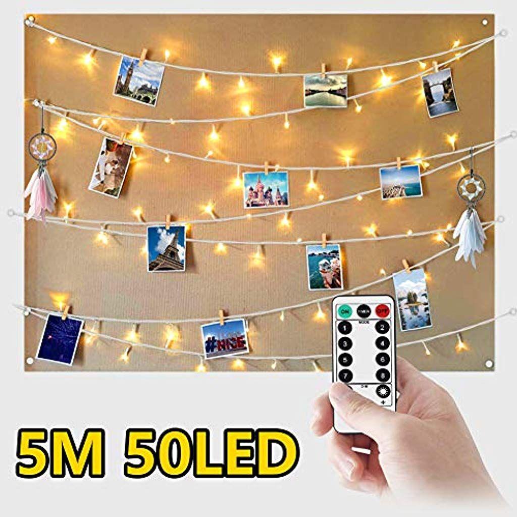 WEARXI Luci Led per Clip Foto 5M 50 LED Impermeabile 8