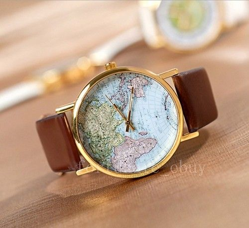 Womens retro world map design leather alloy band analog quartz womens retro world map design leather alloy band analog quartz wrist watch gumiabroncs Gallery
