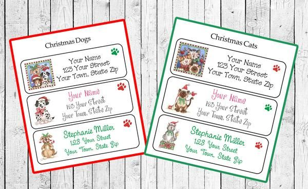 christmas dogs or cats return address labels seasonal labels