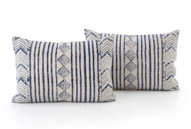 Best Accent Pillow Faded Denim Diamond 16X24 Set Of 2 With 400 x 300