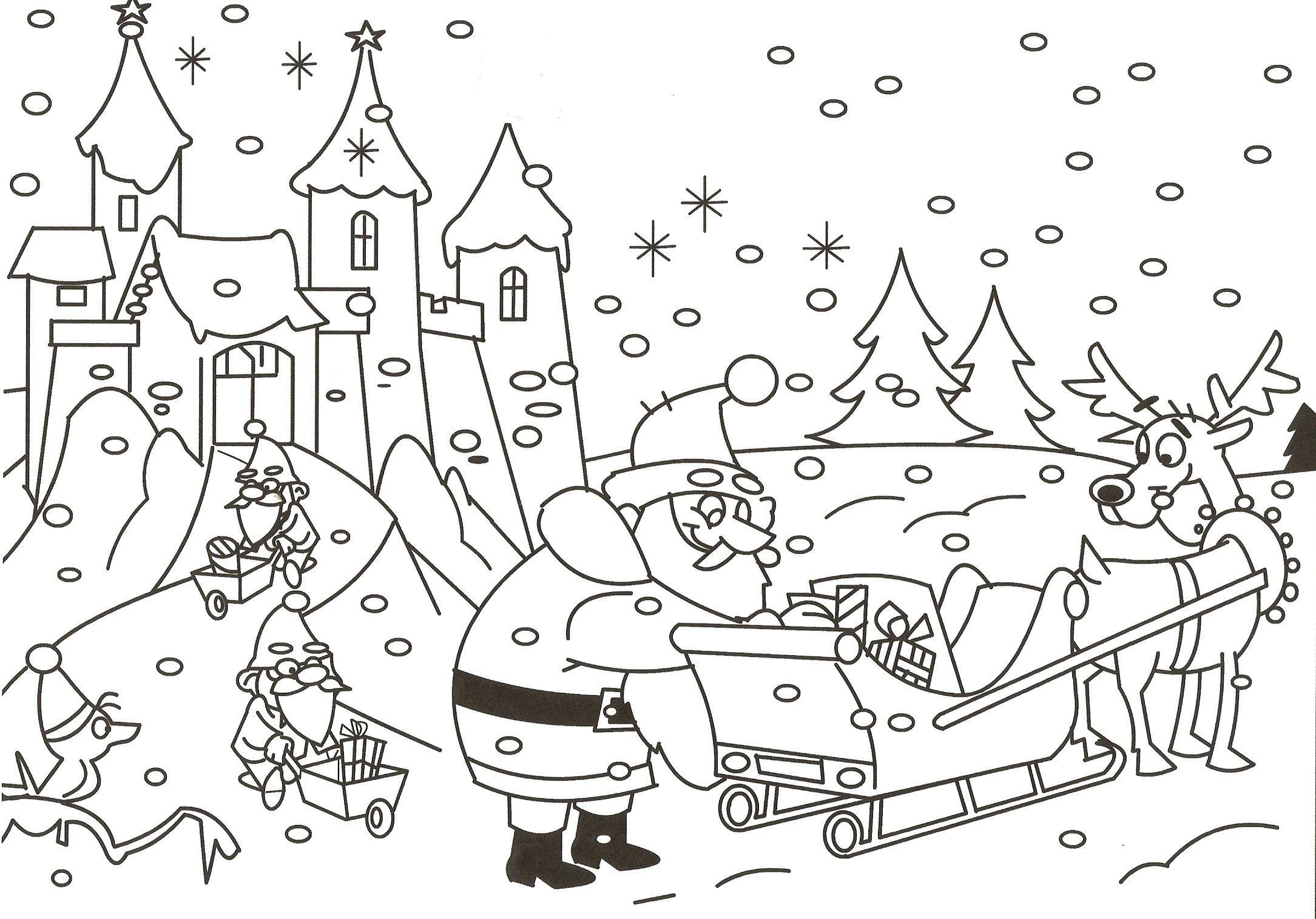 Kerstman Elven Slee Kerstman Kleurplaten Slee