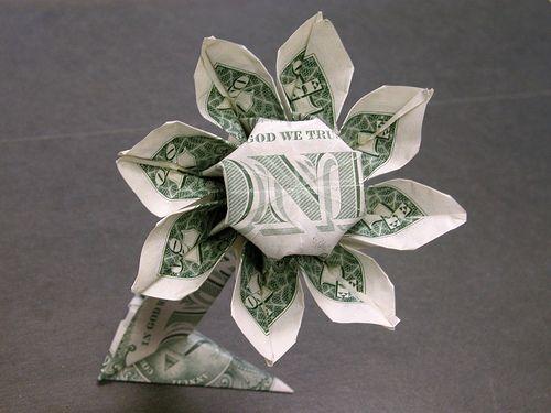 Dollar bill daisy flower flower designs flower and origami mightylinksfo