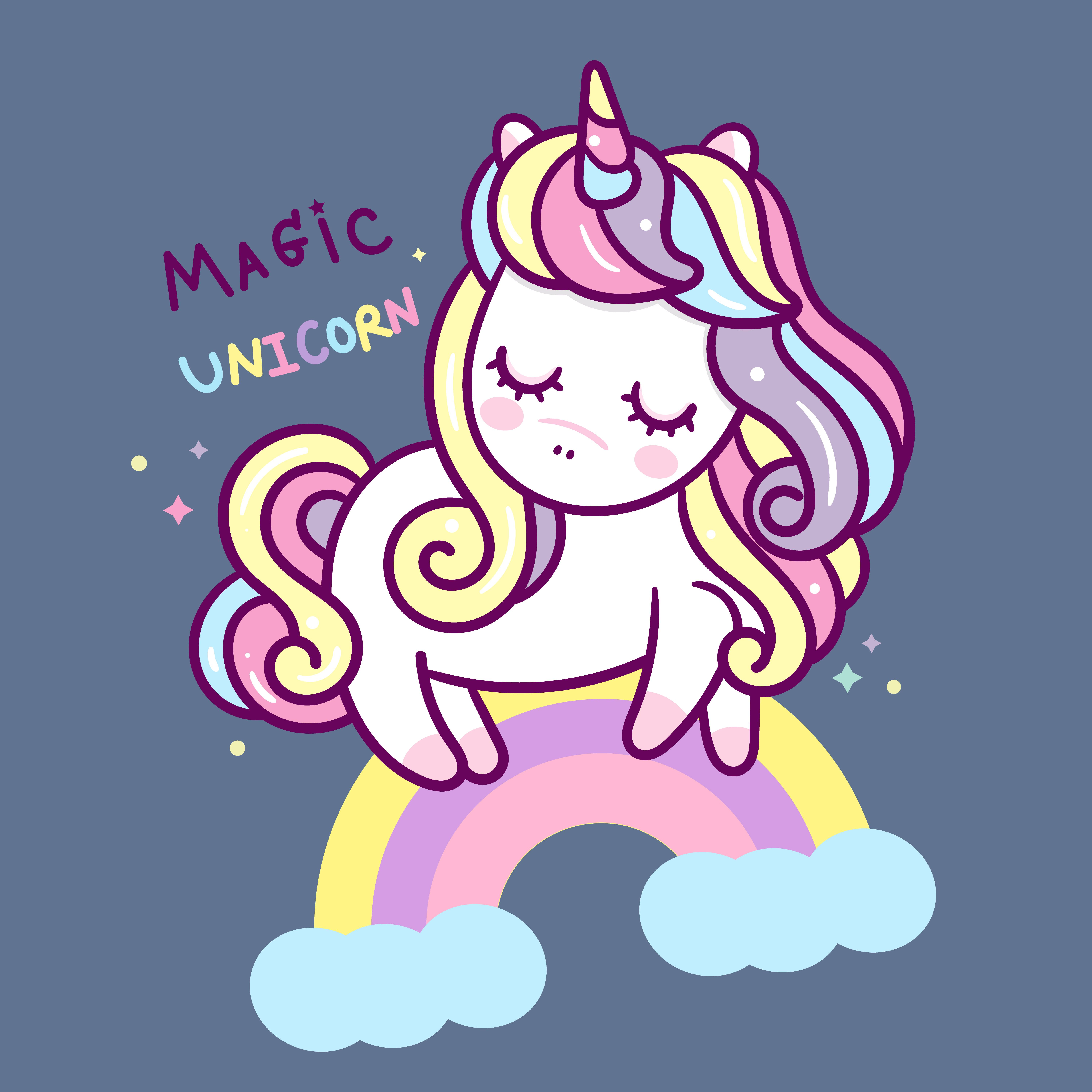 Illustrator of Cute Unicorn vector on the sky and pastel