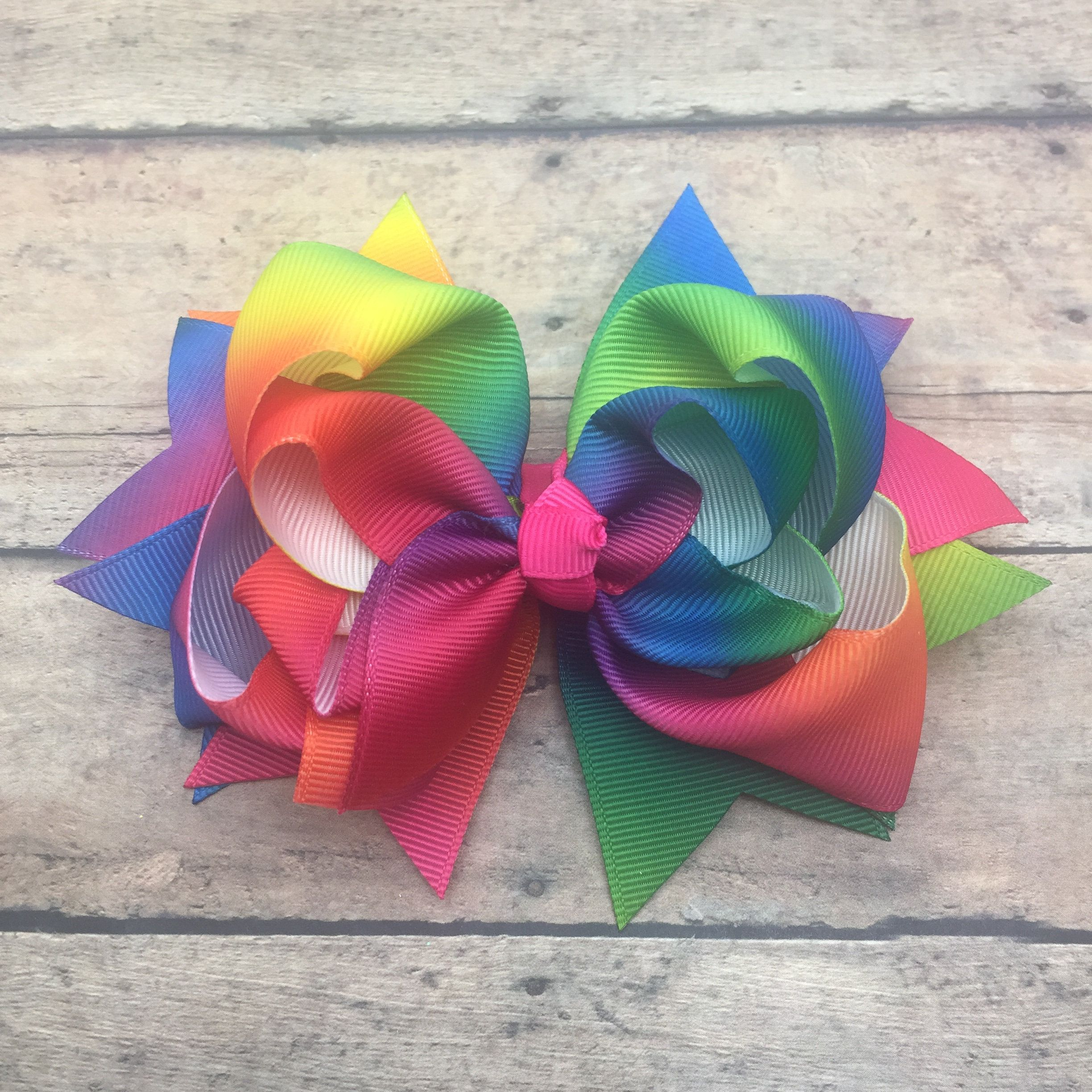 Tie Dye Bow Summer Bright Colored Hair Hairbow Clip By Bbgiftsandmore