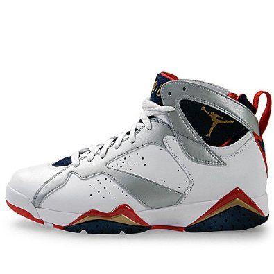 Nike Mens Nike Air Jordan 7 Retro Olympic Edition Basketball Shoes White /  Midnight Navy /