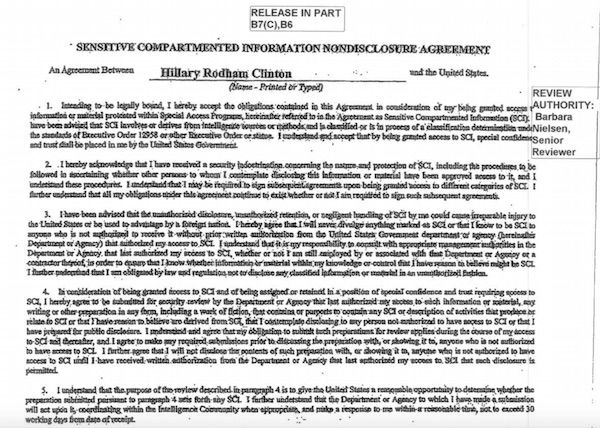 A Screenshot Of Hillary ClintonS NonDisclosure Agreement