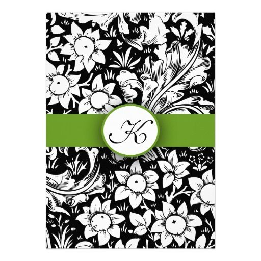 "apple green elegant damask monogram wedding invite outstanding unique design with black and white floral ornaments and apple green lace wedding monogram invitations. I suggest the ""Linen"" or ""Felt"" paper for this design."