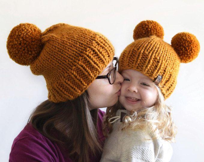 Hat Knitting Pattern    Knit Beanie Pattern    Chunky Pom Pom Hat    Double  Pom Pom Hat Pattern    Chunky Knit Hat Pattern    Beanie Pattern cf57608e533