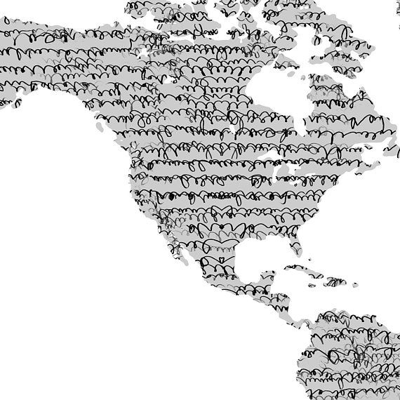 World map poster world map wall art world map art world map detail world map poster world map wall art elegant black ink on grey gumiabroncs Choice Image
