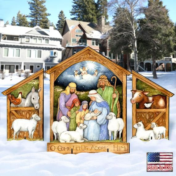 Outdoor Christmas Décor Holly Family Nativity Display Set Of 3 Outdoor Wall And Lawn Décor By Susan Winget 8471113f S3 Sw In 2020 Outdoor Christmas Decorations Outdoor Christmas Lawn Decor