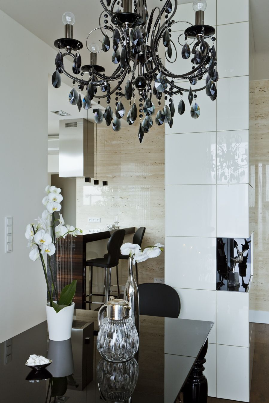 Sleek And Sumptuous Poland Apartment Dining Room Chandelier