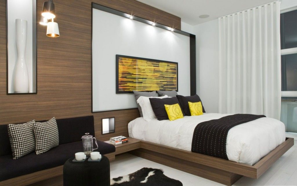 modern bright bedroom design ideas with custom walnut laminate floating bed wall panels and integrated black - Wall Laminates Designs
