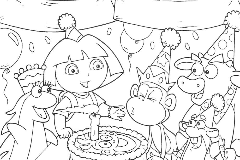 Dora The Explorer Coloring Sheet 2017 16544 Coloring Pages Records ...