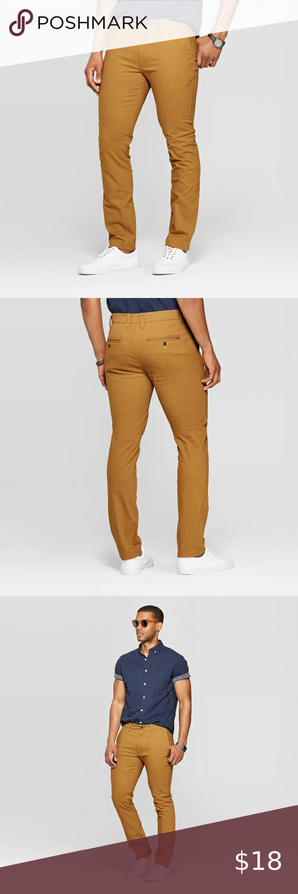 Men's Skinny Chino Pants - 28x30 Men's skinny fit chino pants Color brown decaf 28x30 Goodfellow & C