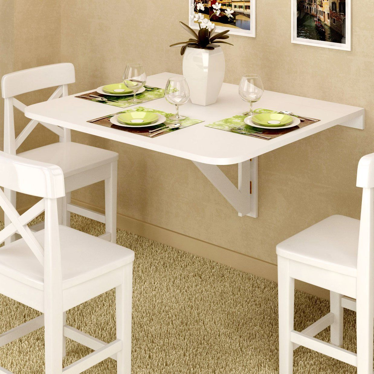 Amazon.com: Large Wall Mount Drop Leaf Table White Solid Wood 36 X 30