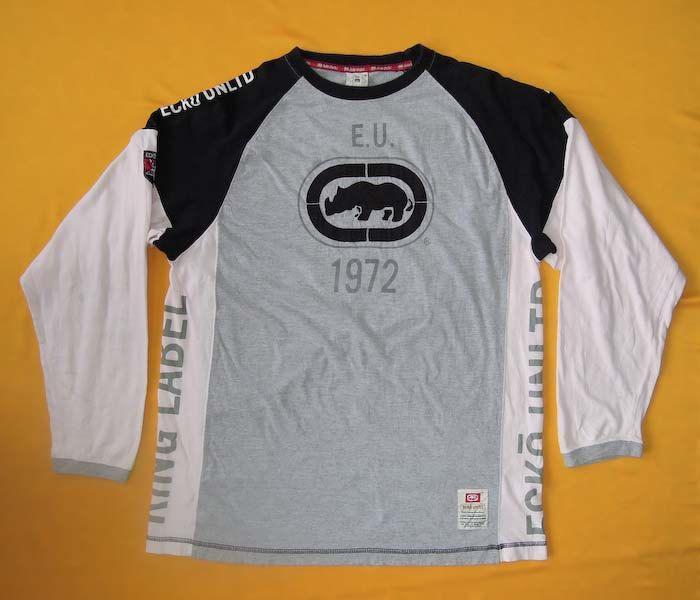 fb10f613e13 Ecko Unltd Sweater Printed Rhino Signature Pattern Gray Pink Vintage ...