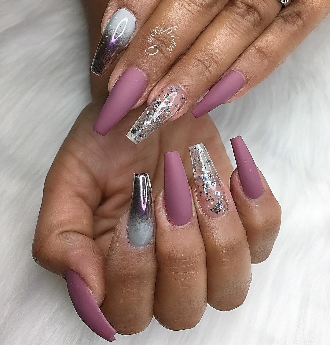Purple Matte Sparkles And Chrome Ombre Pretty Nails Glitter Fancy Nails Nails