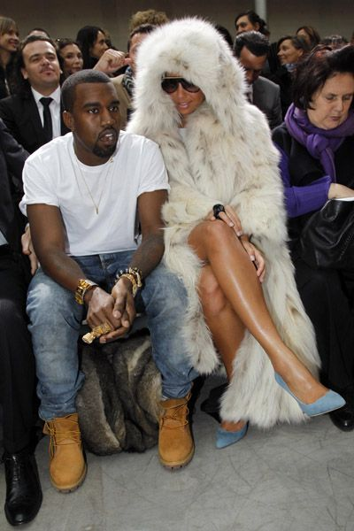 kanye and amber front row