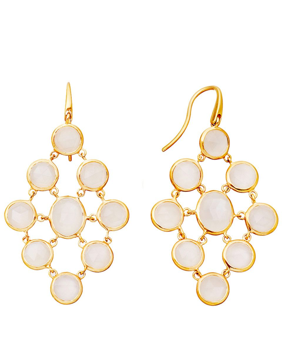 Resort Style Astley Clarke Moonstone Chandeliers Gold Vermeil Earrings In White