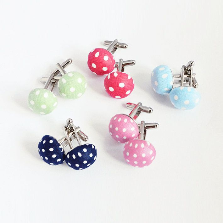 christmas gift unisex men-women cufflinks. original pastels dots fabric.$22