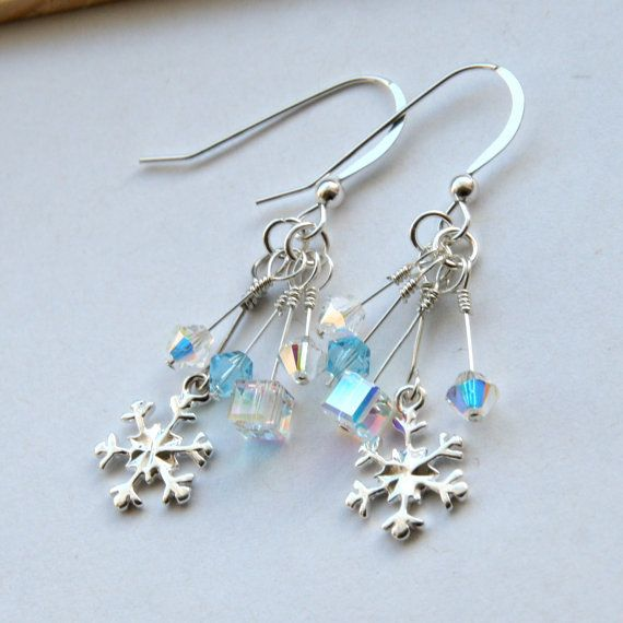 c9409e68979b6 Swarovski Snowflake Earrings, Sterling Silver Snowflake Earrings ...