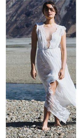 f687cc2e5fbf Bach Sexy Sheath Bohemian Wedding Dresses Plunging V Neckline Split  Delicate French Eyelash Lace Bridal Gown Backless Illusion