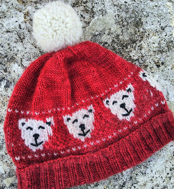 3be8b0ed35a Free Knitting Pattern for Polar Bear Hat - Beanie knit in the round with  smiling polar bears knitted in fair isle. Sizes baby