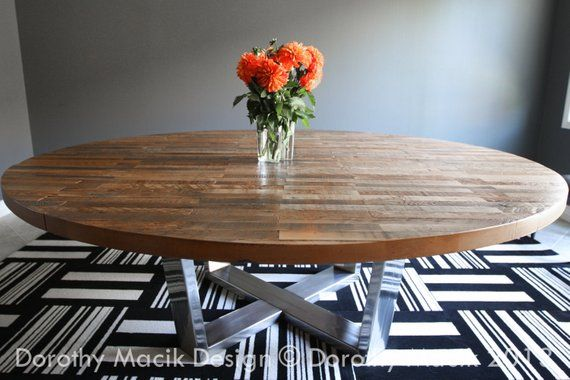 Custom Round Strip Wood Dining Table On Stainless Steel Base
