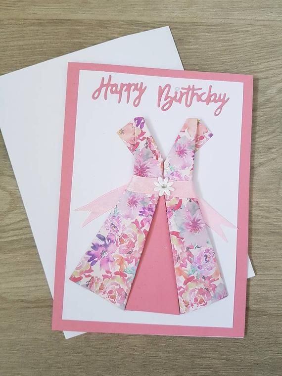 "Photo of Rosa ""alles Gute zum Geburtstag"" Origami Kleiderkarte. Innen leer"