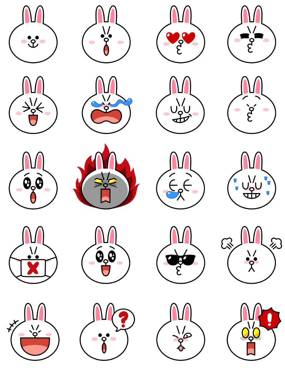 Cheerful Cony Line Friends Stickers For IPhone Emoji
