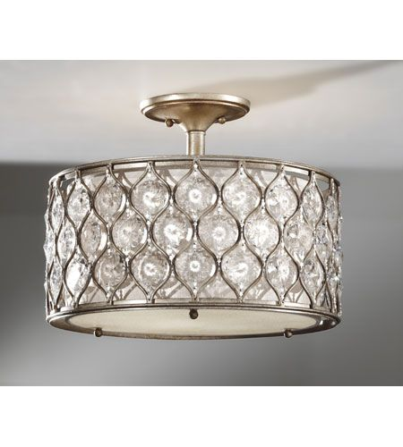 Feiss lucia 3 light semi flush mount in burnished silver sf289bus lightingnewyork lny
