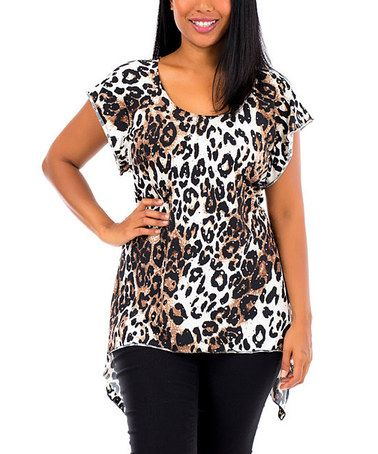 Another great find on #zulily! White & Brown Leopard Sidetail Tunic - Plus #zulilyfinds