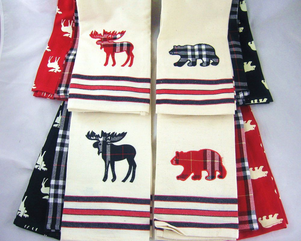 Choice Bear Or Moose Red Or Black Kitchen Towel Sets Cabin Decor