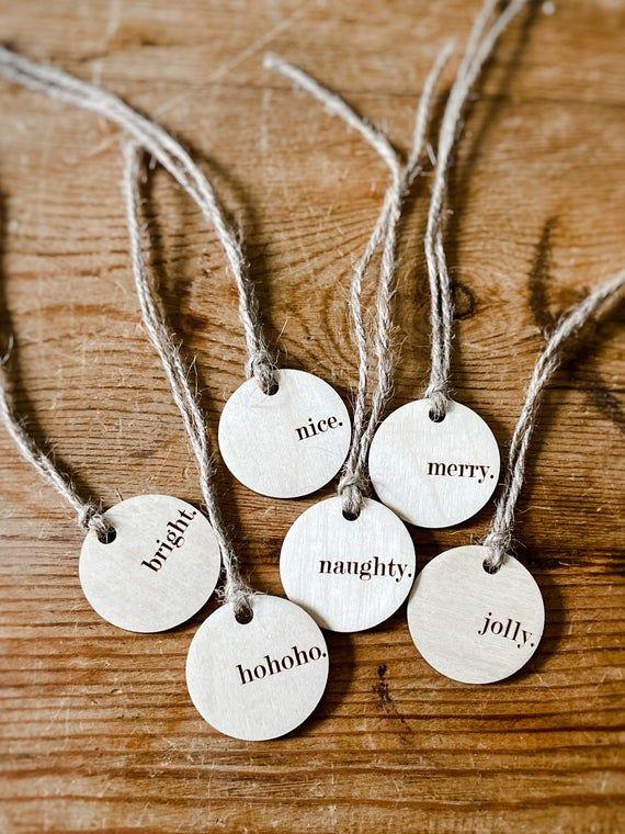 Engraved Christmas Gift Tags | Set of Christmas Tags | Engraved Gift Tags | Farmhouse Christmas Tags