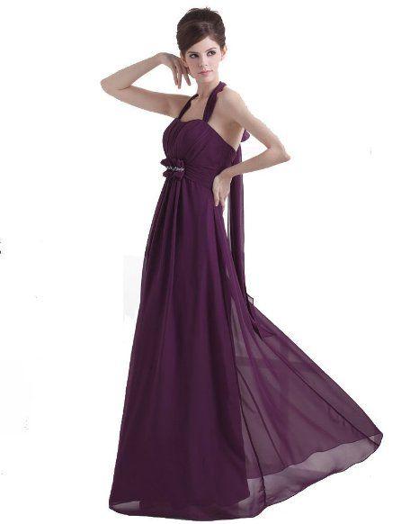 $130 Amazon.com: Winey Bridal Deep Purple Long Simple Chiffon Prom ...