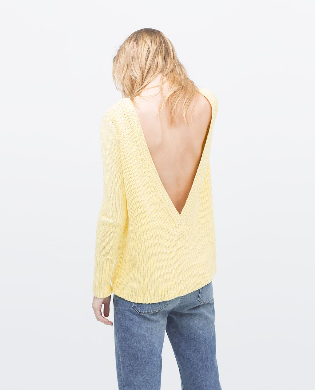 soft pastel yellow sweater with back cleavage | ZARA summer 2015 ...