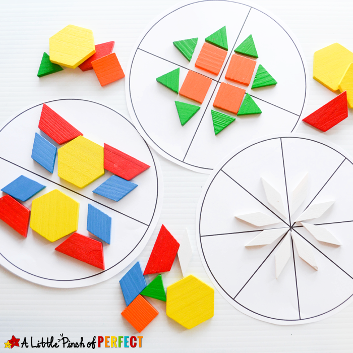 Symmetry Circles Math Activity and Free Printable: The printable included with this activity has a blank circle, 2 section circle, 4 section circle, and an 8 section circle that kids can use small manipulatives to build patterns