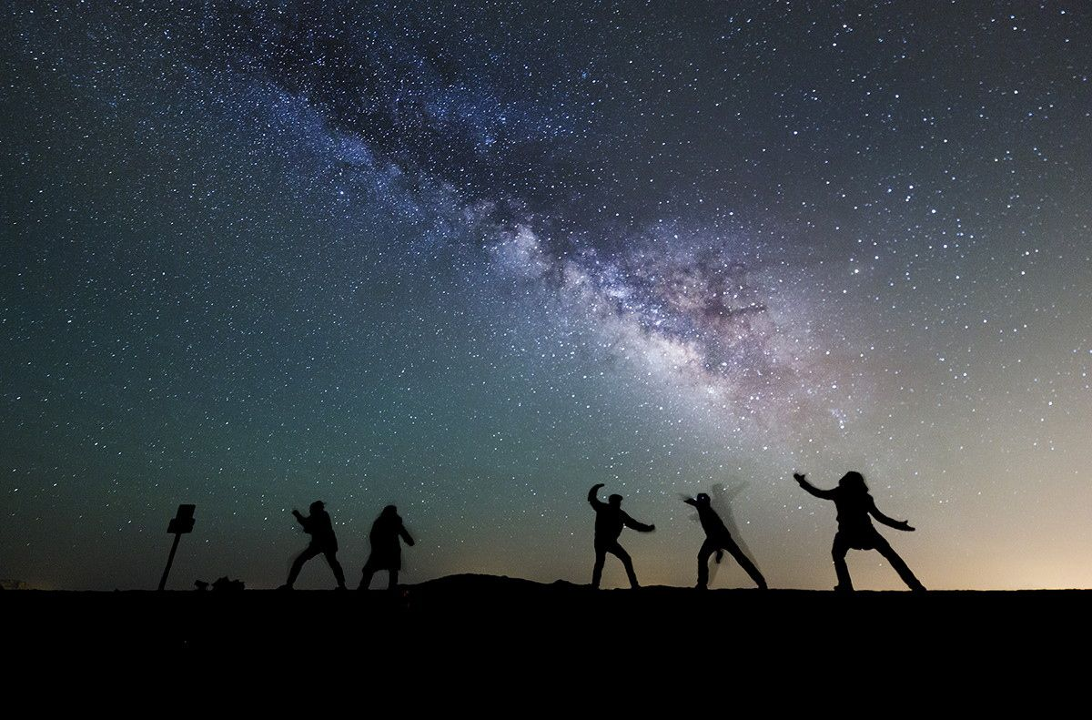 star fu - Some friends and I went out star gazing. We got a little bored and decided to practice kung-fu under the stars