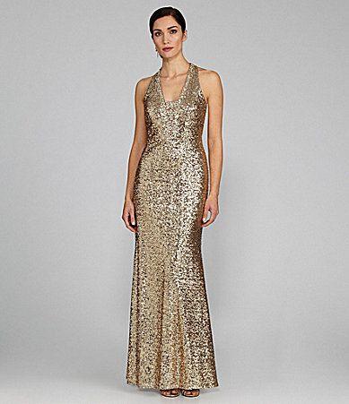 JR Nites Sequin VFront Halter Gown #Dillards | My Favorites | Pinterest